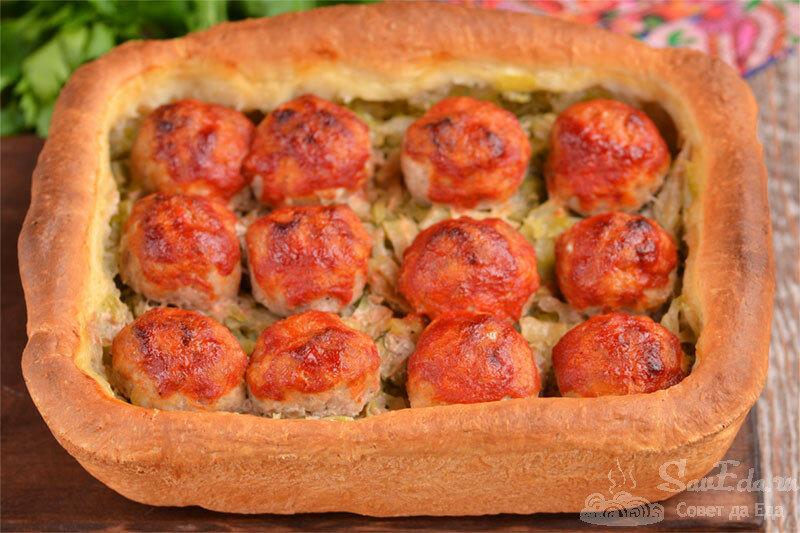 Ну очень вкусно!!! Открытый пирог с капустой и тефтелями