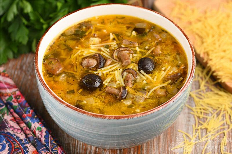 Суп с вермишелью и грибами. Прост в приготовлении, очень сытный и вкусный