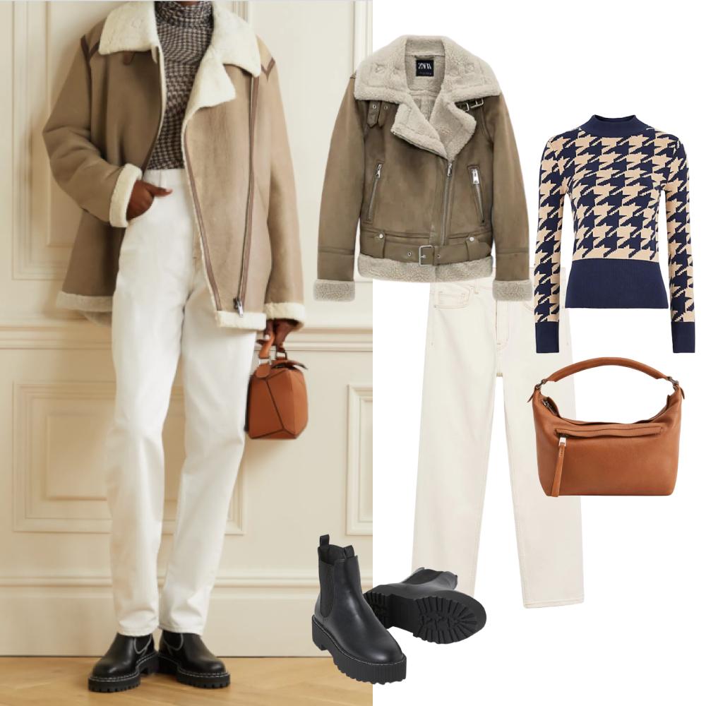Дубленка Zara, водолазка Marks&Spencer, Сумка и джинсы Mango, обувь H&M