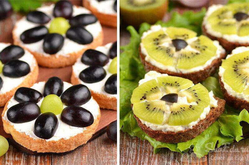 Праздничные бутерброды с фруктами. Два варианта (рецепт с фото)