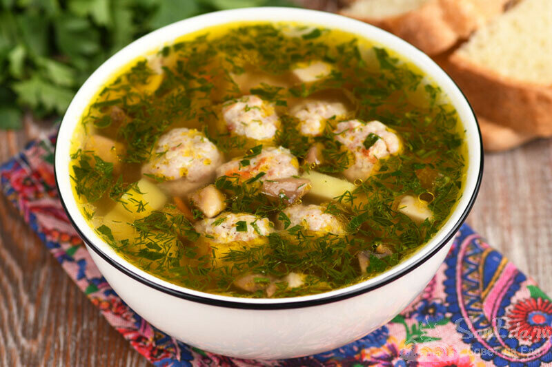 """""""Жареный"""" суп с фрикадельками и грибами. Простой способ (рецепт с фото)"""