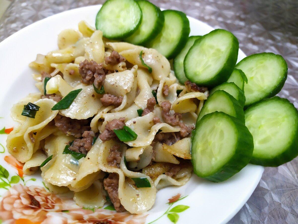 Как вкусно приготовить жареные макароны с мясом