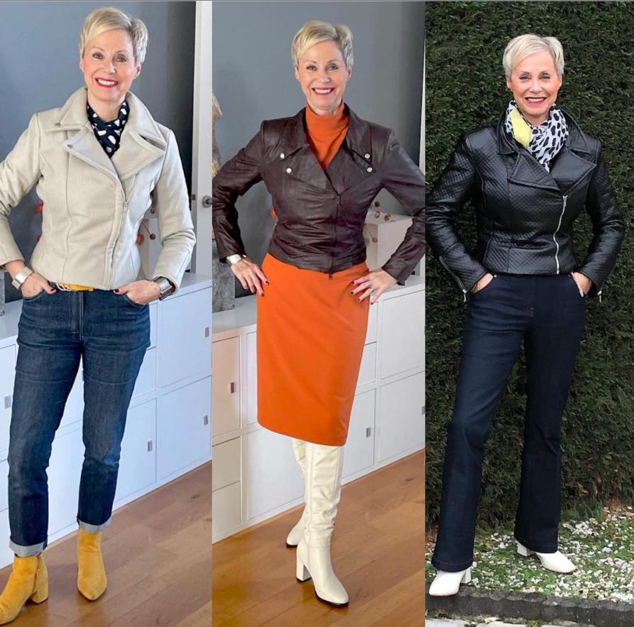 Куртка-косуха и образы для элегантной и стильной женщины 50+, а не молодящейся тёти